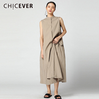 CHICEVER Casual Summer Dress For Women 2018 Stand Neck Sleeveless Hem Ruched Loose Big Size Women's Dresses Korean Fashion Tide