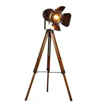 Artpad American Loft Rustic Vintage Floor Lamps for Living Room Office Study Lighting Black Red LED Wood Industrial Lamp