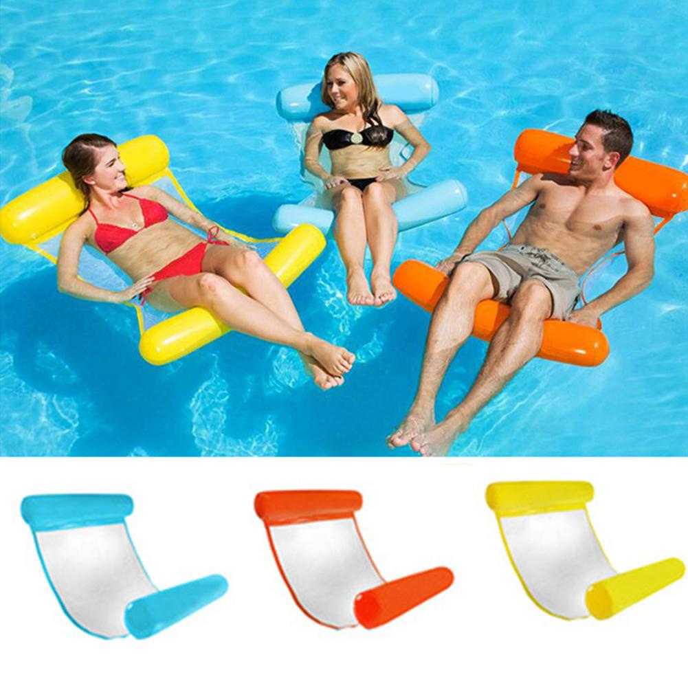 Kidlove 130*73cm Outdoor Folding Water Hammock Lounger Inflatable Floating Row Air Mattress Inflatable Pool Accessories
