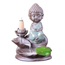 The Little Monk Incense Burner Smoke Waterfall Backflow Holder Lotus Flower Ceramic Censer Mountain River Handicrafts
