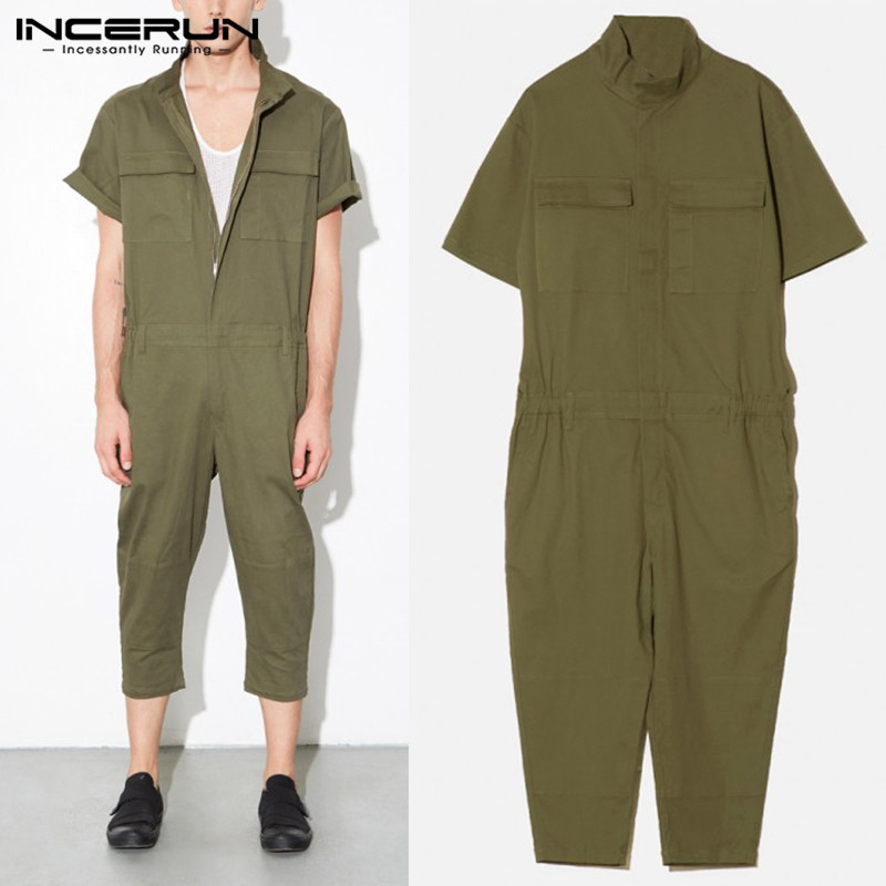 Streetwear Male Overalls Rompers Baggy Pants Dungarees Casual Jumpsuits Calf Lenght Trousers Garment Overalls Army Green Hombre