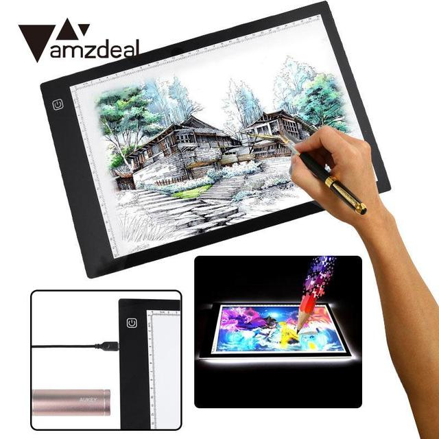 amzdeal For A4DC LED Thin Stencil Drawing Display Board Tablet Tracing Drawing Display Board Table Pad 3 Gear Dimming US plug