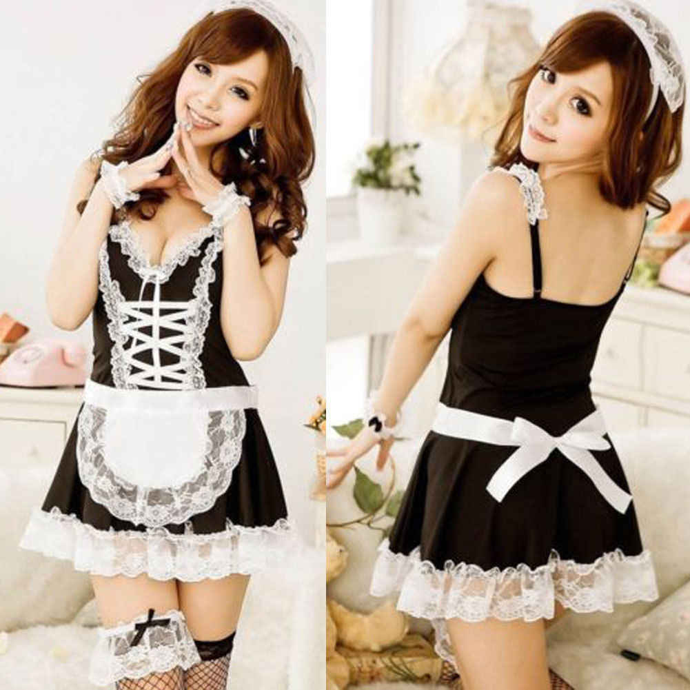 9204d019c69 Detail Feedback Questions about Women Exotic Costume Maid Dress Sexy  Lingerie Lace Dress G string Babydoll Sleepwear Sets on Aliexpress.com