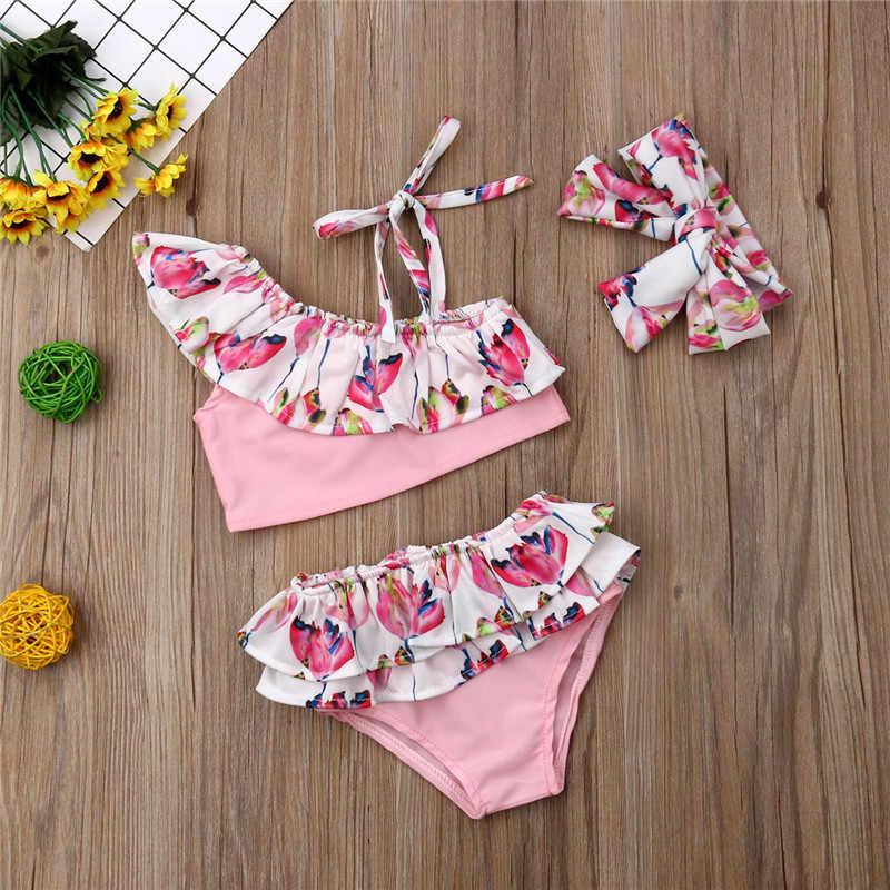 49aceea154a80 ... Fashion 3Pcs Toddler Kids Baby Girl Flower Ruffle Bikini Set Lovely  Bottoms Headband Swimwear Swimsuit Hot ...