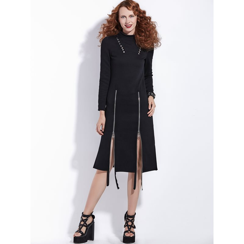 Club Zipper Sexy Spring Fashion Dress Dresses Women Ol Plus Gothic Midi Ladies Aline Split Female Black Chic 2019 Size Punk cWP1qYgT1