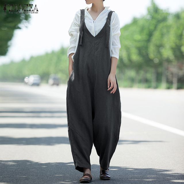 f5c2d0af3f 2018 ZANZEA Women Casual Jumpsuits Vintage Strap V Neck Solid Cotton Linen Overalls  Rompers Female Wide Leg Trousers Plus Size