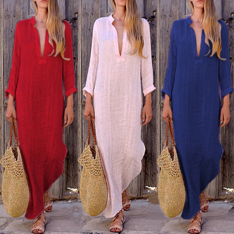 Fashion Womens Warm Autumn Casual Long Sleeve Loose Long Maxi Shirt Dress Deep V Neck Sexy Party Holiday Irregular Dresses