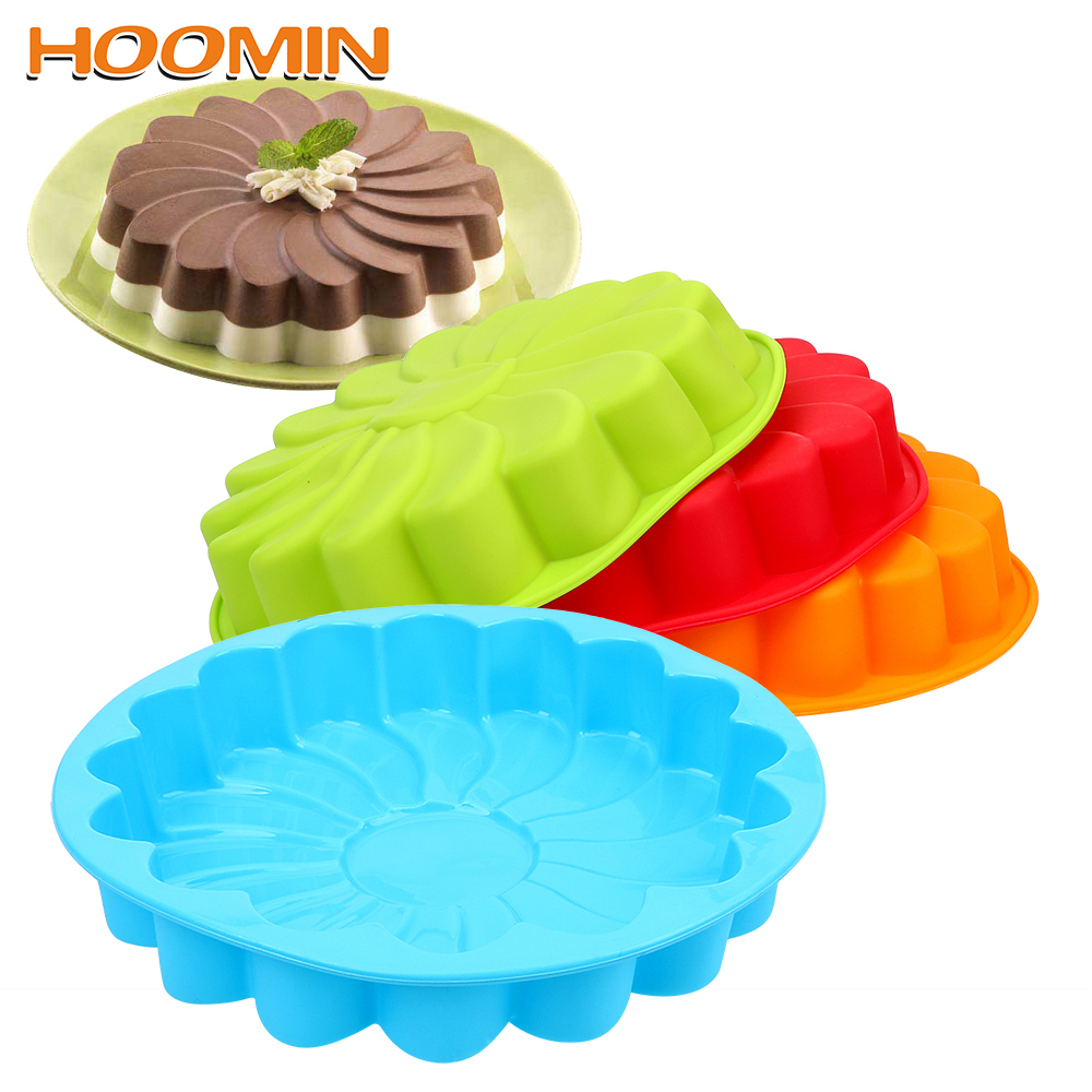 HOOMIN 3D Silicone Sunflower Form Fondant Cake Mold For Baking Cookie Mould Kitchen Pastry DIY Cake Decorating Tool image
