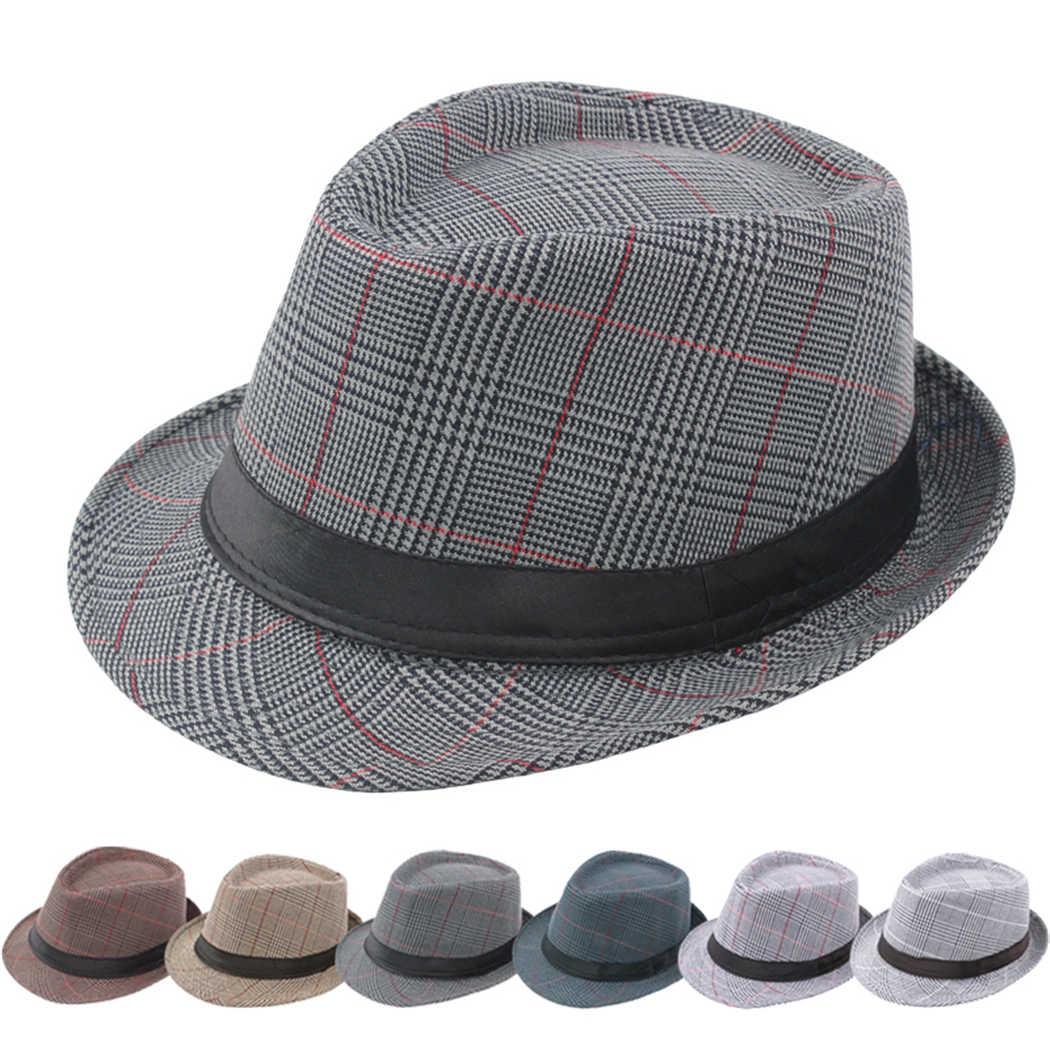 99f67fc60 Vintage Plaid Gentleman Hats Jazz Caps Men Fashion Dad Fedora Hat Woolen  Wide Brim Church Cap British Male Outdoor Sun Hat