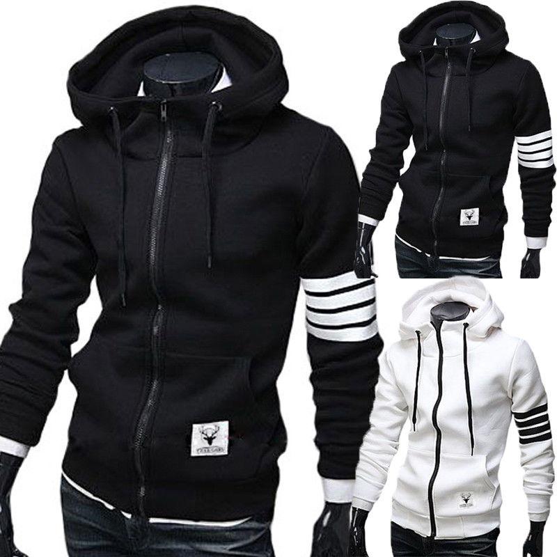 New Men s Winter font b Slim b font Hoodie Warm Hooded Sweatshirt Coat Jacket Outwear