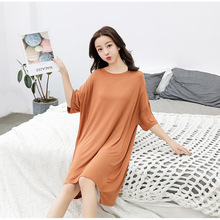 2019 Summer Print Half Sleeve Modal Cotton Nightdress For Women Sexy Nightshirts Nightgowns Pregnant Flare Sleepshirts