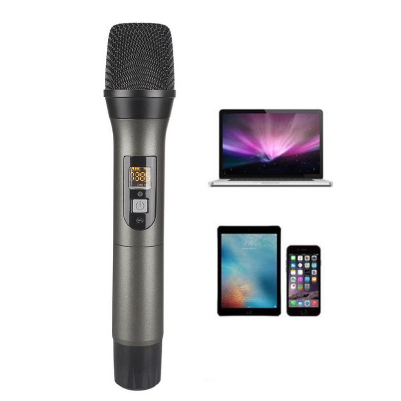 Adjustable Frequency UHF USB Wireless Microphone with Sound Card U Segment Wireless Microphone for TV Computer Plug and Play