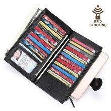 Купить с кэшбэком Genuine Leather Wallet Women Wallets Phone Pocket Large Capacity Card Holder Money Bag Long Clutch Bags Coin Purse Cartera Mujer