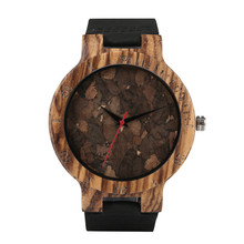 Timekeeper Mens Wood Watch Unique Dial Leather Quartz Watches Men Natural Casual Wrist for Teenager
