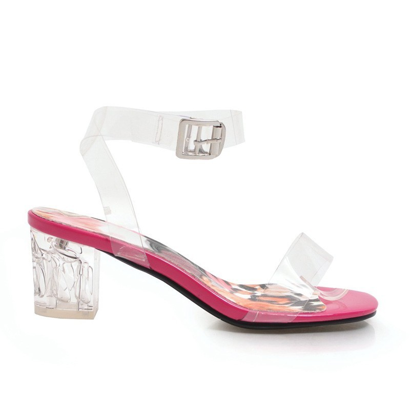 Women Clear Sandals Summer Sexy Ladies Open Toe Square Heel Sandal Buckle Strap Fashion Womans High Heels White Party Shoes A079 in High Heels from Shoes