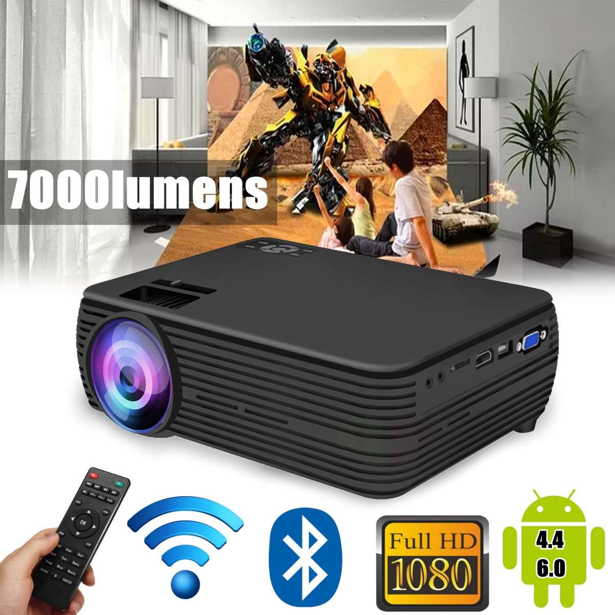 X5 LCD Projector android4.4/6.0 Home Cinema Theater Movie wifi bluetooth LED Proyector HD Projectors AV Support 1080P 7000 LumenX5 LCD Projector android4.4/6.0 Home Cinema Theater Movie wifi bluetooth LED Proyector HD Projectors AV Support 1080P 7000 Lumen