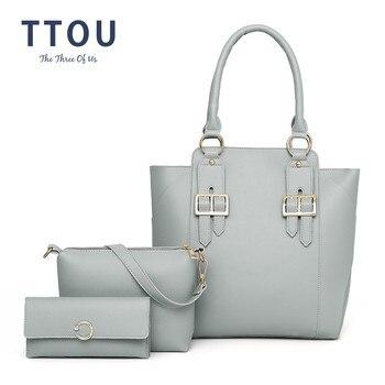 8930bdbe04e0 TTOU 3 шт.. из искусственной кожи Сумка-тоут женская сумка на плечо сумки  женские знаменитые Брендовые женские сумки-мессенджеры Bolsas Feminina