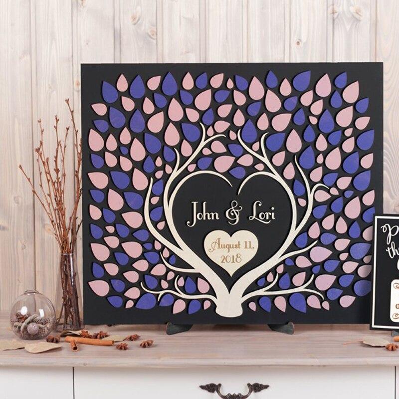 Personnalisé mariage livre d'or alternative deux arbres poussent en un mariage rustique livre d'or 3d signe personnalisé lavande et lilas mariage