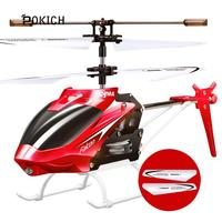 Pokich W25 RC Helicopter 2 CH 2 Channel Mini RC Drone With Gyro Crash Resistant RC Toys For Boy Kids Gift Red Yellow