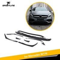 For Mercedes Benz W176 Front Bumper Lip Canards Vents 8 pieces/set A200 A250 A45 AMG Hatchback 2016 Now Carbon Fiber / ABS