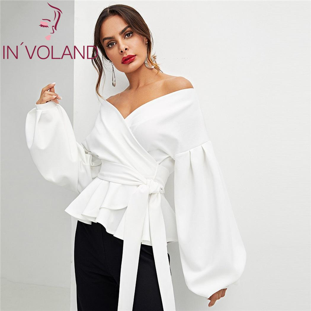 Back To Search Resultswomen's Clothing Women Sexy Off Shoulder White Blouse Casual Loose V Neck Strapless Bow Bowknot Bandage Cross Front Wrap Blouse Top