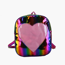 Women Laser Holographic Backpacks For Teenage Girls Lovely Ita Bag Transparent Backpack Harajuku Love Heart Shape