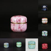 Винтаж с крышкой банки Многофункциональный китайский стиль чайная банка порошок круглый металлический кофе чай жестяная банка красивый красочный#137