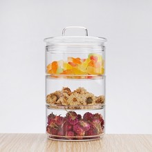 New 1200ml 3-layer Mason Borosilica Glass Jar Kitchen Food Bulk Container Set For Spices Dried Fruit Storage Can Salad Bowl Box