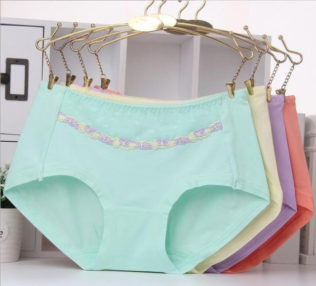6998b784841d KL54 Females organic cotton lace side cute embroidery panties briefs women  solid bamboo fiber underwear