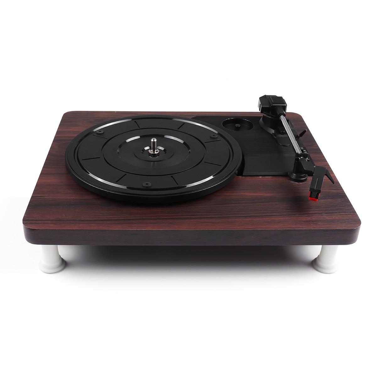 33, 45, 78 tr/min lecteur de disque Antique Gramophone tourne-disque vinyle Audio RCA R/L 3.5mm sortie USB DC 5V couleur bois - 4