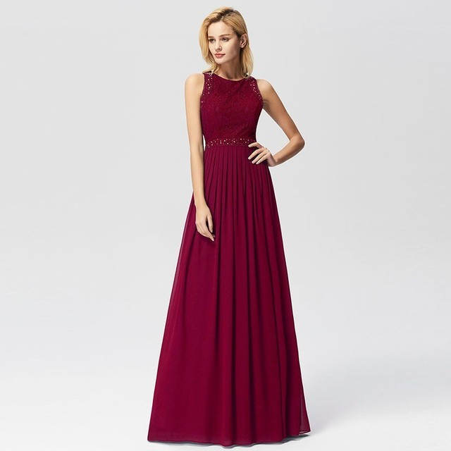2019 Prom Dresses Elegant A-line Sleeveless O-neck Burgundy Lace Appliques Cheap Long Party Gowns For Wedding Guest Gala Jurken