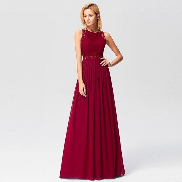 2019 vestidos de graduación elegante Línea A sin mangas cuello redondo Borgoña Apliques de encaje barato largo vestidos de fiesta para boda invitado Gala Jurken