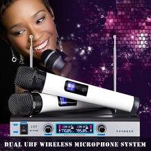Беспроводной микрофон UHF системы 2 ручной микрофон KTV бас караоке аудио беспроводной микрофон для караоке системы с светодиодный дисплеем