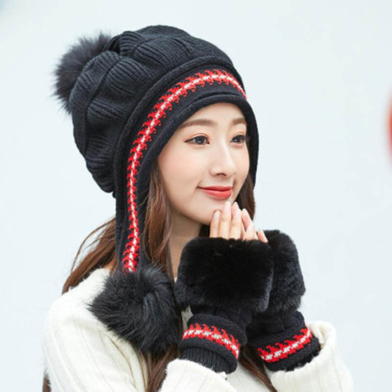 Winter Warm Hat Beanie Thick Infinity Scarf Smart Touch Screen Texting Gloves Set Skullies Beanies Hat Scarf Gloves