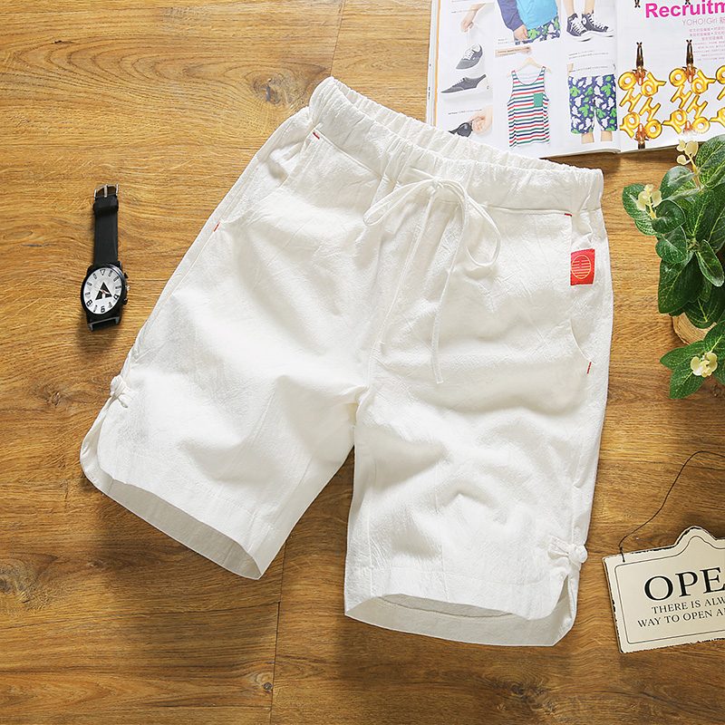 Chinese Wind Sports Beach Thin Pants Thin Summer Cotton White Men's Large Code Leisure Five
