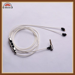 Okcsc For Beyerdynamic Xelento MMCX Connector Cable 3 .5 With Mic Occ Single Crystal Silver For Ios & Andriod Shure UE XBA-Z5