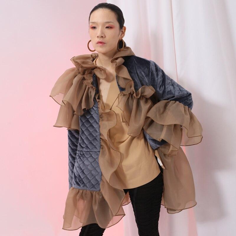 Grande eam Ruches manteau Marée Point Printemps Ji588 Coat 2019 Matelassé De Velours Coton Nouveau Mode Maille Femmes Taille Lâche Veste T4nT8q7r
