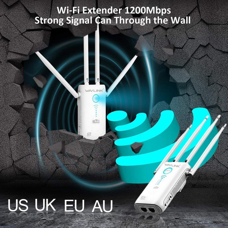 11ac Gigabit AP/routeur WiFi gamme Extender 1200 Mbps Wifi Booster Signal extendeurs 4 antennes externes double bande externe