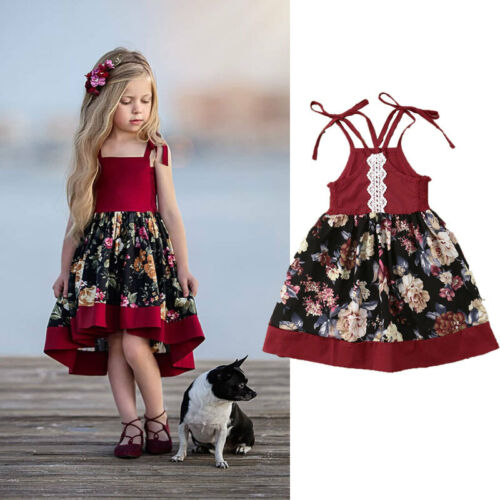 US Toddler Kid Girl Floral Sleeveless Dress Princess Party Dress Sundress Outfit