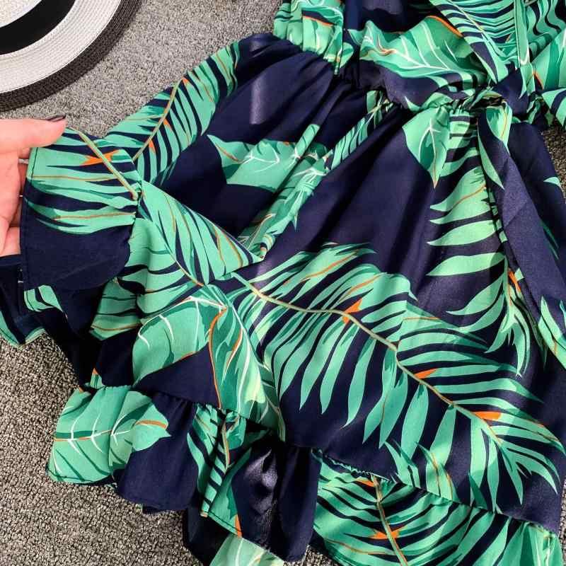 Verano Mujer moda cuello en V estampado Floral Playsuit pantalones cortos de pierna ancha cintura señoras vacaciones trompeta mangas mono