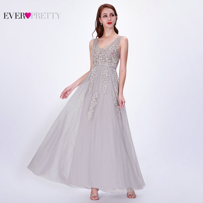 Bridesmaid     Dresses   2019 Ever Pretty Women's Fashion Elegant Grey A-Line V-Neck Sleeveless Lace Appliques Formal Wedding Gowns