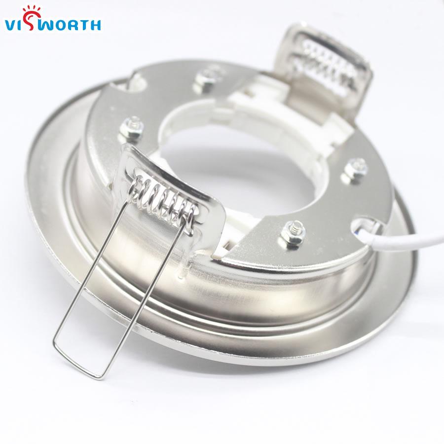 Купить с кэшбэком [VisWorth]GX53 Lamp Bases With 10cm Wire Circular Iron White Silvery Body GX53 Lamp Holder For GX53 Led Light