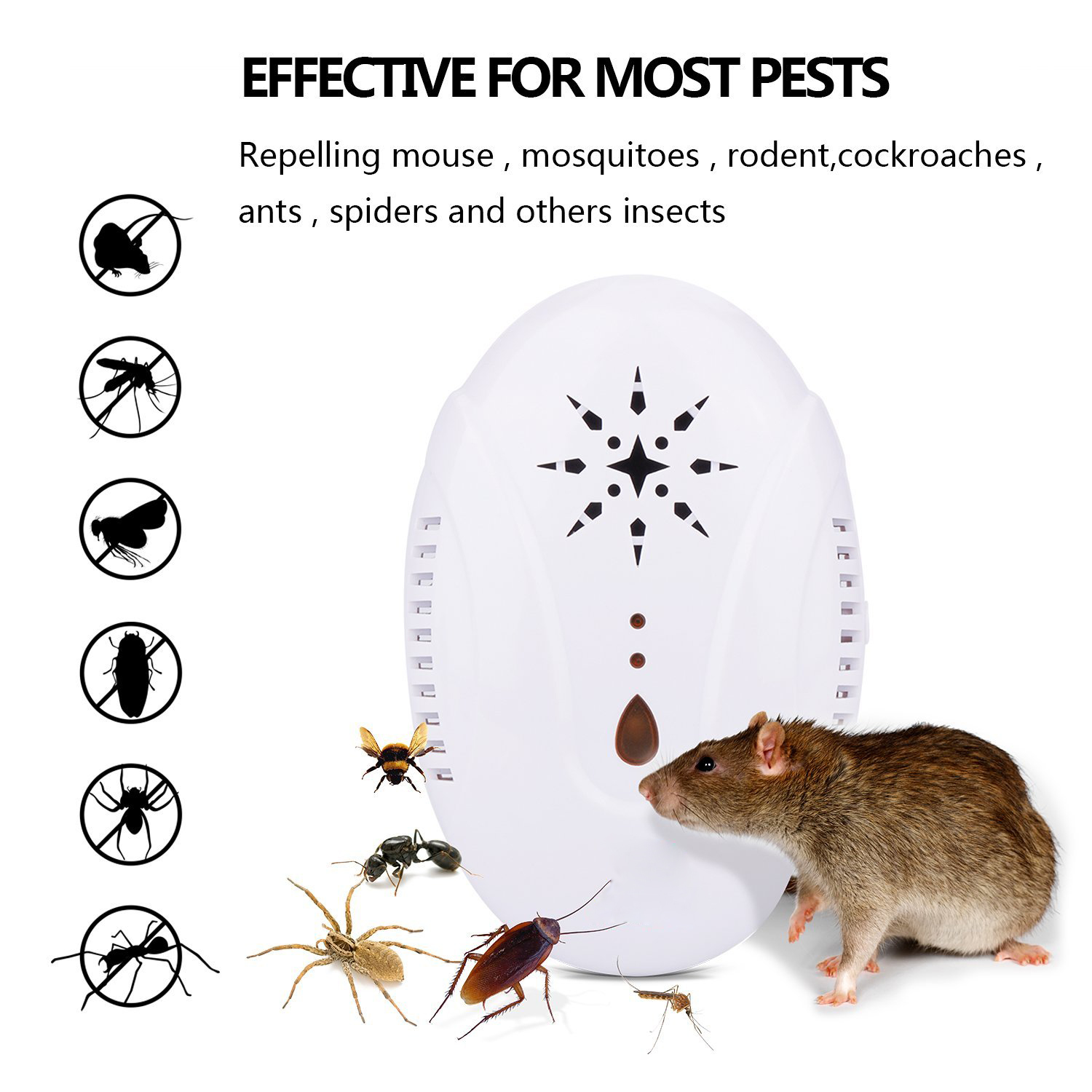 New Ultrasonic Insect Repellent US Plug 13.3X6.4X8.7cm Anti Mosquito For Home ABS Mosquito Killer Lamp For Garden-in Repellents from Home & Garden