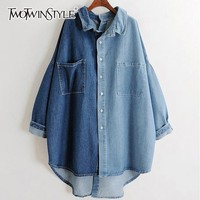 TWOTWINSTYLE Denim Shirts Blouse Women Long Sleeve Hit Colors Patchwork Oversized Tops Female 2019 Spring Casual Fashion New