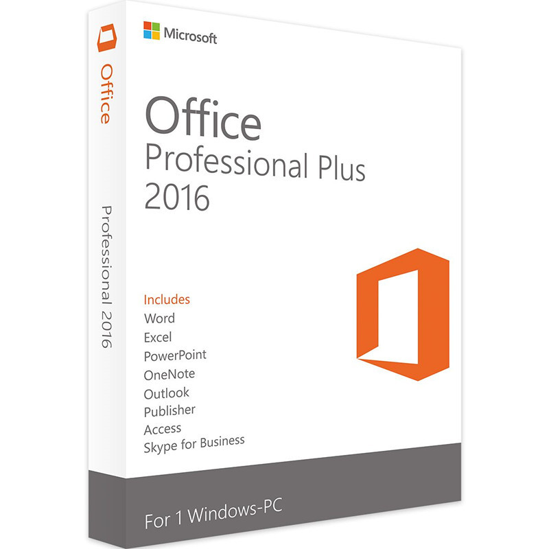 Microsoft Office 2016 Professional Plus for Windows PC Retail Boxed Product Key Card inside with DVD