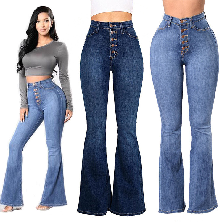 2019 High Waist   Jeans   Bell Bottom   Jeans   High Waist Cotton Full Length Bleach Wash Button Fly Washed Vintage Softener Fashion