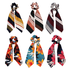 Sale New Sweet Floral Women Hair Band Scarf Elastic Bow Rope Scrunchie Ties Ponytail Accessories