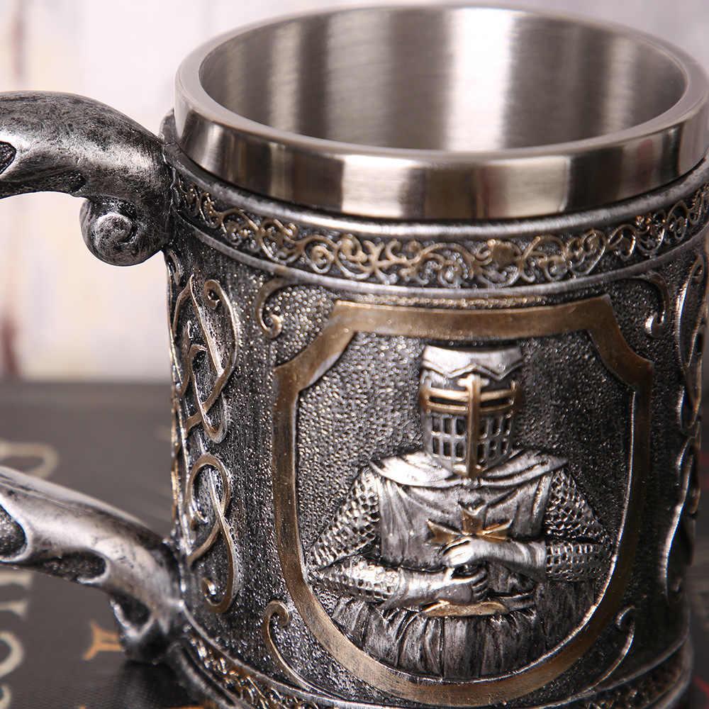 Retro 3D Relief Skull Giữ Thanh Kiếm Hiệp Sĩ Trò Chơi Của Of Thrones Thời Trung Cổ Bia Mug Thép Không Gỉ Cốc Cốc Thanh Câu Lạc Bộ Say rượu vang Thủy Tinh