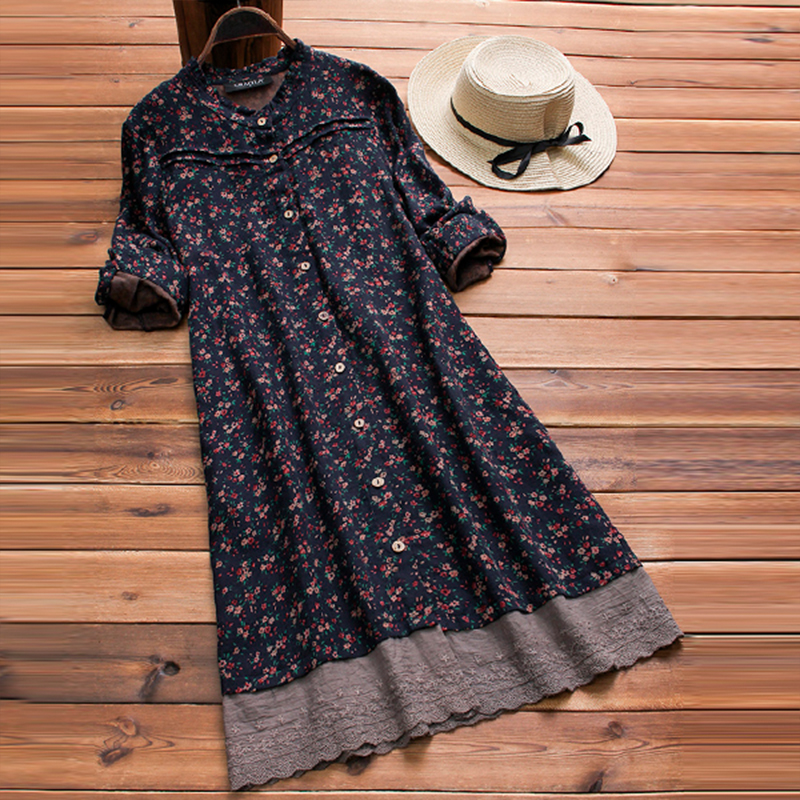 Vintage Embroidered Floral Printed Dress Women Autumn Long S
