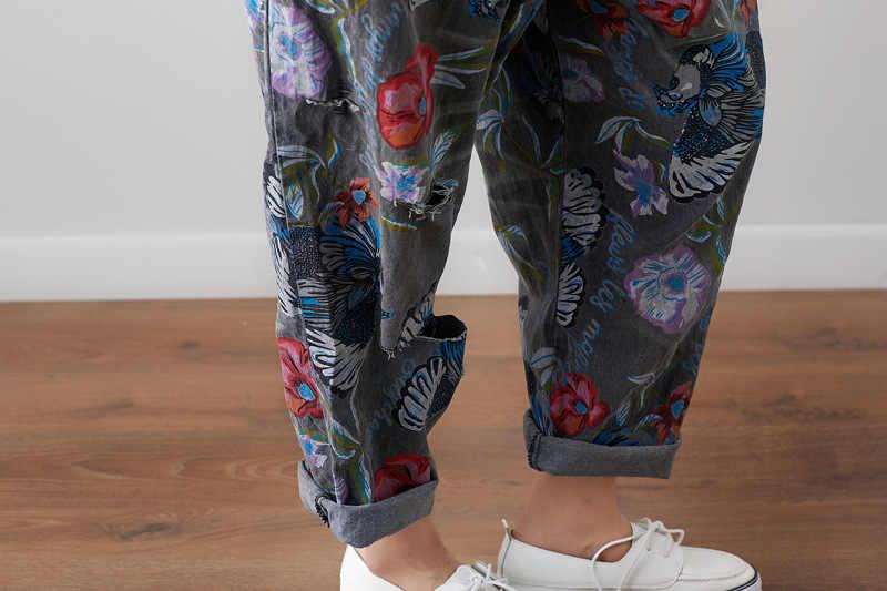 Американский уличный свободные нагрудник Джинсовые комбинезоны 2018 Для женщин Винтаж печатных Жан комбинезоны женские шаровары падения промежность джинсовые комбинезоны